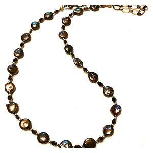Metallic Peacock Black Coin Pearl necklace,freshwa